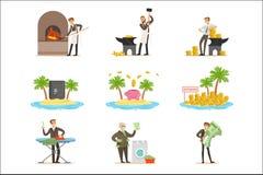 Blanchiment d'argent illégal et utilisation de l'ensemble d'Offshores d'illustrations avec l'homme d'affaires corrompu Washing Di illustration libre de droits