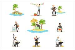 Blanchiment d'argent illégal et utilisation de la série d'Offshores d'illustrations avec l'homme d'affaires corrompu Washing Dirt illustration de vecteur