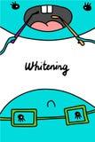 Blanchiment de l'illustration tirée par la main de vecteur Manipulation dentaire de clinique Style de bande dessinée de minimalis illustration libre de droits