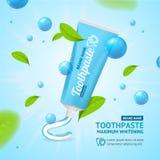 Blanchiment de la carte de concept de promotion de pâte dentifrice Vecteur illustration libre de droits