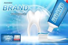 Blanchiment des annonces de pâte dentifrice Modèle de dent et design d'emballage de produit de soins dentaires pour l'affiche ou  illustration de vecteur