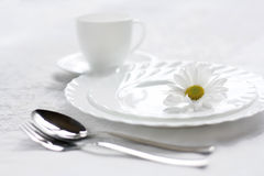 Blanching dishes. The Setting of the table by clean dishes.Sound feeding Royalty Free Stock Images