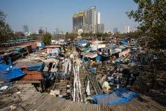 Blanchisserie de Dhobi Ghat dans Mumbai image stock