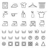 Blanchisserie et icône de lavage illustration libre de droits