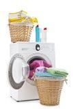 Blanchisserie et machine à laver photos stock