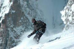 blancmt-snowboarder Royaltyfri Foto