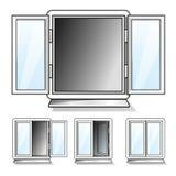 Blanco abierto y ventanas cerradas con el vidrio transparente Fotos de archivo