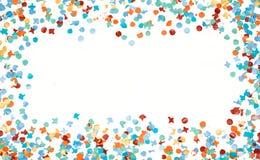 Blanco aislado confeti colorido del marco del partido Imagen de archivo