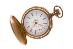 Blanco aislado de cobre amarillo pasado de moda del reloj de bolsillo Imagen de archivo libre de regalías