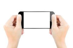 Blanco aislado pantalla de visualización del smartphone del control de la mano del primer fotos de archivo