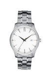 Blanco aislado reloj de plata con la trayectoria de recortes Foto de archivo libre de regalías