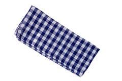 Blanco azul de la toalla de cocina aislado según lo cortado Imagenes de archivo
