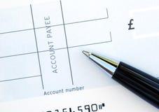 Blanco cheque Stock Foto