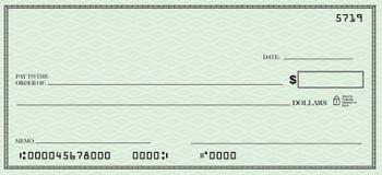 Blanco cheque met Open plek voor Uw Tekst