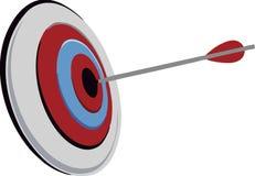 Blanco con la flecha, colocándose en un trípode La meta alcanza concepto Ilustración del vector aislada en el fondo blanco libre illustration