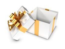 blanco 3d y caja de regalo abierta del oro Imágenes de archivo libres de regalías