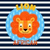 Blanco de la cara roja del león en fondo rayado azul africano Imagen de archivo libre de regalías
