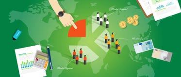 Blanco de la gente del mercado del márketing del concepto del negocio del segmento de la segmentación de cliente Imágenes de archivo libres de regalías