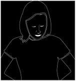 Blanco de la muchacha que se sienta en negro imagenes de archivo