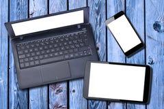 Blanco de la pantalla en blanco del ordenador portátil de la PC de Smartphone de la tableta Fotos de archivo