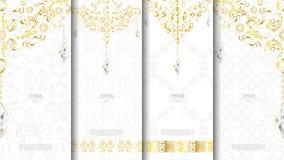 Blanco de la plantilla del concepto del elemento del modelo y textura islámicos del oro Fotografía de archivo