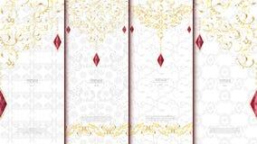 Blanco de la plantilla del concepto del elemento del modelo y textura islámicos del oro Imagenes de archivo