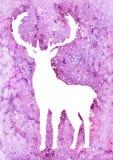 Blanco de los ciervos de la acuarela en fondo púrpura El reno y las nieves del invierno, los copos de nieve y el blanco salpica stock de ilustración