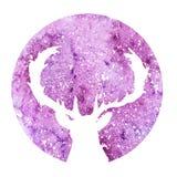 Blanco de los ciervos de la acuarela en fondo púrpura El reno y las nieves del invierno, los copos de nieve y el blanco salpica Imagen de archivo libre de regalías