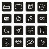 Blanco de los iconos del sueño o el dormir a pulso en negro Fotos de archivo