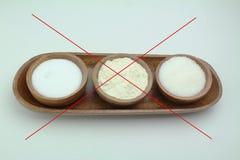 Blanco de tres prohibiciones: sal, harina, azúcar Fotografía de archivo libre de regalías