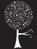 Blanco del árbol del estallido de las notas musicales Fotos de archivo