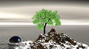 Blanco del árbol y de la montaña Fotos de archivo libres de regalías