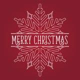 Blanco del copo de nieve de la Feliz Navidad en rojo Imagenes de archivo