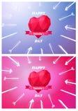 Blanco del corazón rojo de la papiroflexia Vector Bajo-polivinílico stock de ilustración