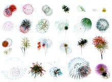 Blanco del espectáculo grandioso de los fuegos artificiales Imagenes de archivo