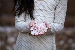 Blanco del holdig de la muchacha - flores rosadas de la almendra Imagen de archivo libre de regalías
