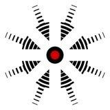 Blanco del icono, centro de acontecimientos, ubicación específica, incidente de la flecha del vector en el centro, el centro del  libre illustration