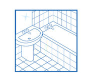 Blanco del icono del cuarto de baño Foto de archivo libre de regalías