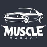 Blanco del logotipo del garaje del coche del músculo ilustración del vector