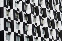 Blanco del negro de la casa de Kiev del edificio del dominó del color fotografía de archivo