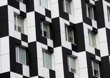 Blanco del negro de la casa de Kiev del edificio del dominó del color imagen de archivo