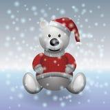 Blanco del oso de peluche en suéter rojo y sombrero rojo con nieve Fotos de archivo