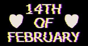 Blanco 14 del texto de febrero en estilo de la interferencia Ejemplo del corazón del vector con, moderna y de moda silueta Fotos de archivo