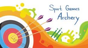Blanco del tiro al arco con las flechas Archer Sport Game Competition Foto de archivo
