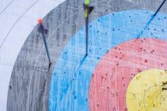 Blanco del tiro al arco con las flechas en ella Diversa bola 3d Foto de archivo libre de regalías