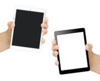 Blanco femenino aislado del negro de la pantalla en blanco de la tableta de la mano Fotografía de archivo