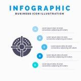 Blanco, flecha, estrategia, fondo sólido de la presentación de los pasos de Infographics 5 del icono del punto libre illustration