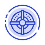 Blanco, flecha, estrategia, línea de puntos azul línea icono del punto ilustración del vector