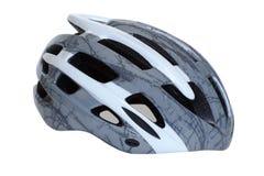 Blanco gris del casco de la bicicleta aislado Fotos de archivo