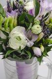 Blanco hermoso y la lila florece el ranúnculo del ranúnculo, lavanda, macro del fresia Árbol congelado solo Regalo de vacaciones  Fotos de archivo